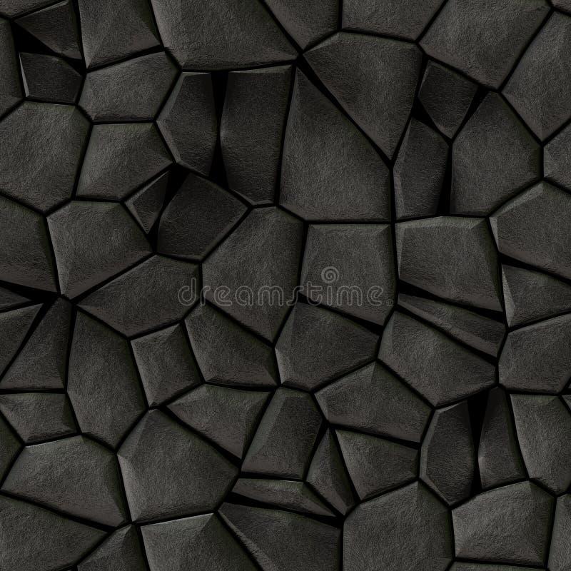 Nahtloser Hintergrund der Kopfsteinstein-Mosaikmuster-Beschaffenheit - dunkelgraue schwarze natürliche farbige Stücke der Pflaste stock abbildung
