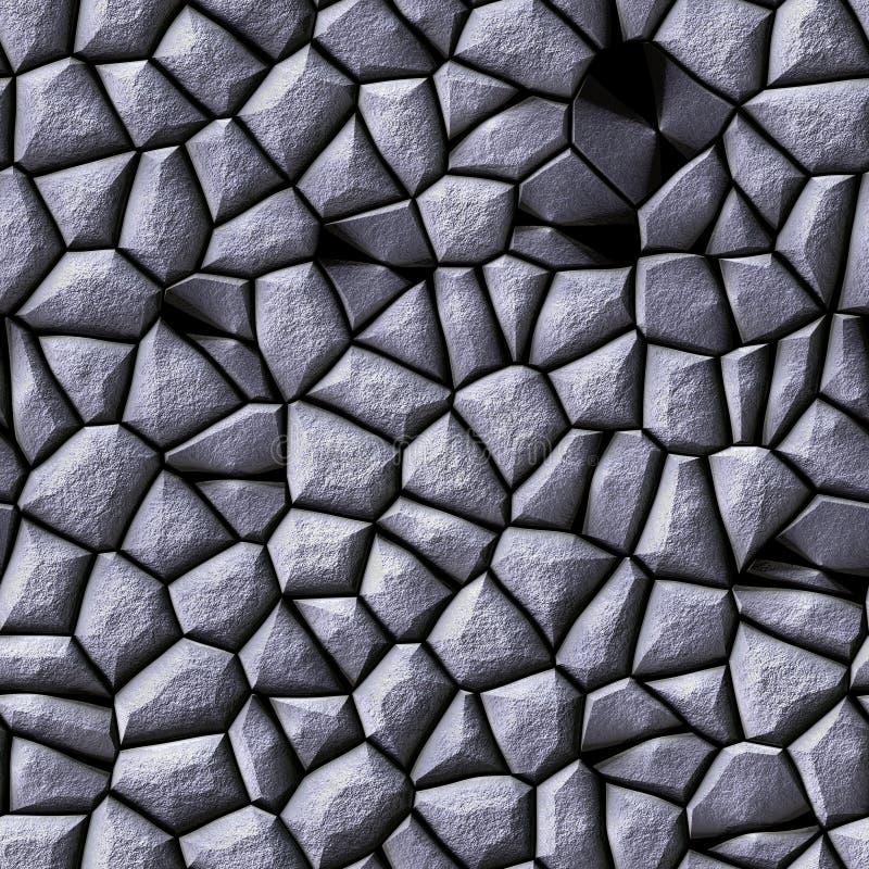 Nahtloser Hintergrund der Kopfsteinstein-Mosaikmuster-Beschaffenheit - graue silberne natürliche farbige Stücke der Pflasterung lizenzfreie abbildung
