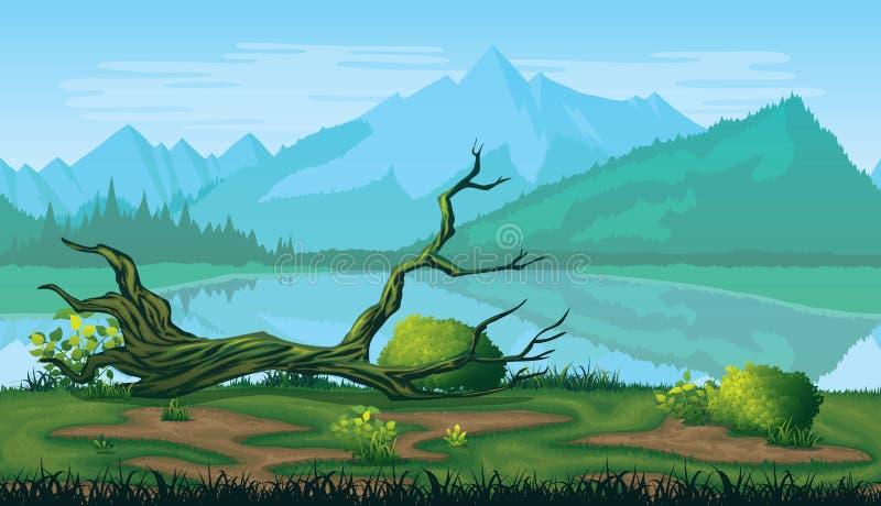 Nahtloser Hintergrund der Landschaft mit Fluss, Wald und Bergen stock abbildung