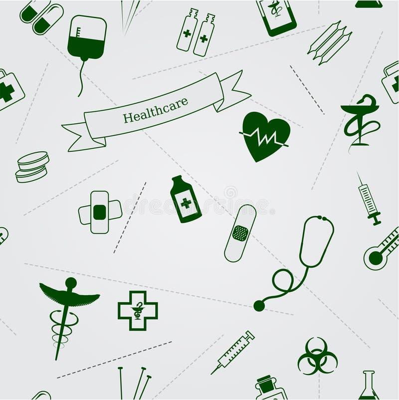 Nahtloser Hintergrund der medizinischen Ikonen vektor abbildung