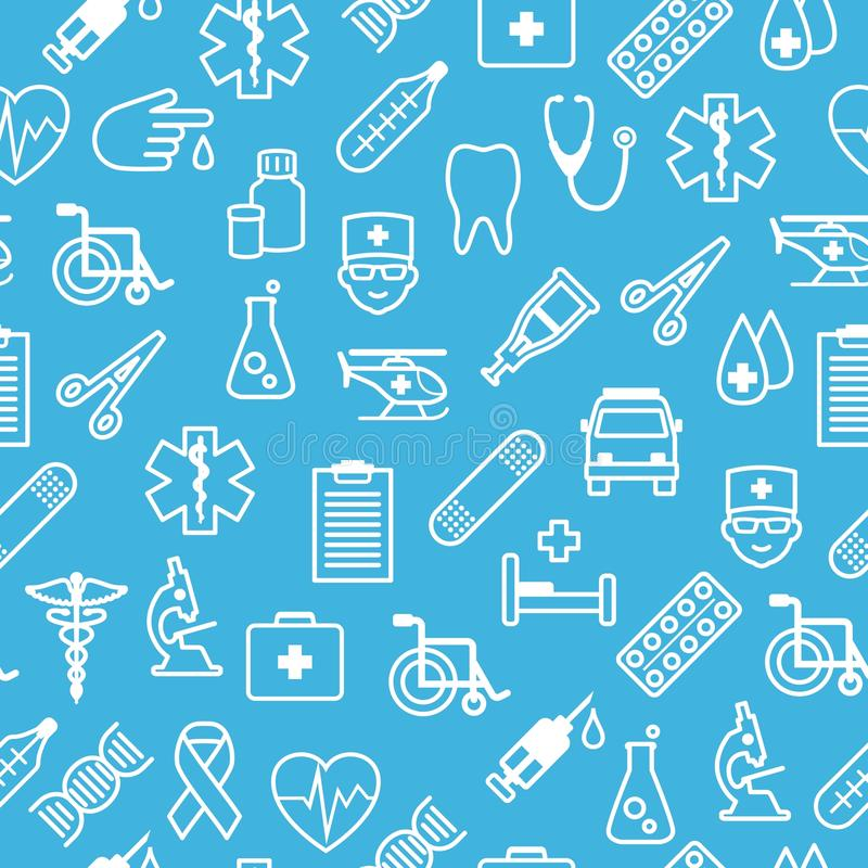 Nahtloser Hintergrund der medizinischen Ikonen in der flachen Art lizenzfreie abbildung