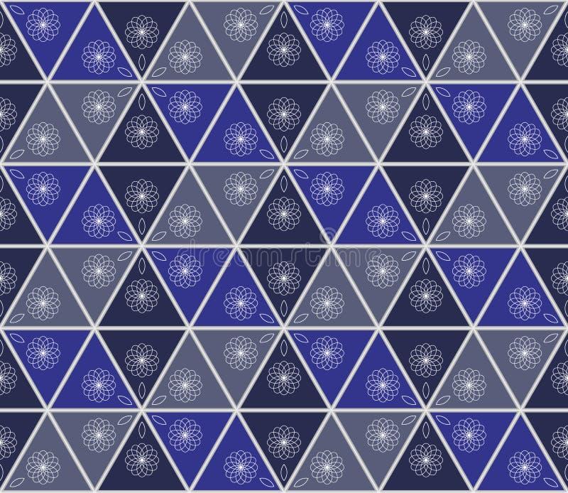 Nahtloser Hintergrund der nahtlosen abstrakten Bienenwabe - Buntglasfenster mit blauem Glas vektor abbildung
