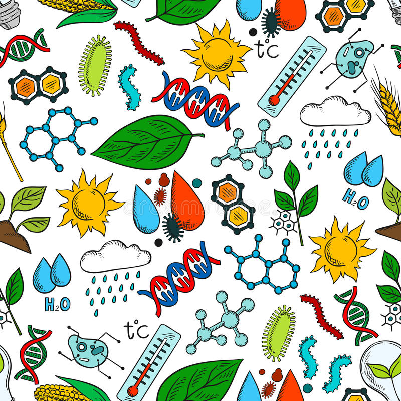 Nahtloser Hintergrund der Naturökosystem-Symbole vektor abbildung
