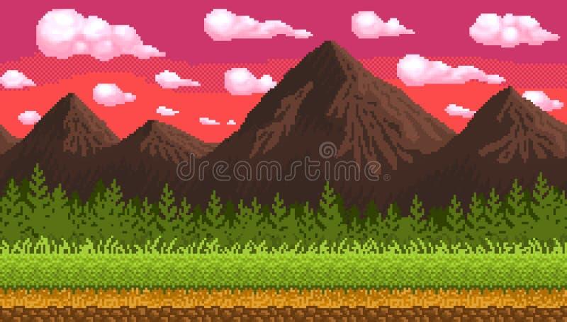 Nahtloser Hintergrund der Pixelkunst mit Bergen lizenzfreie stockfotos