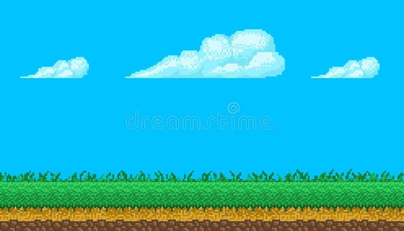 Nahtloser Hintergrund der Pixelkunst mit Himmel und Boden lizenzfreie stockfotografie