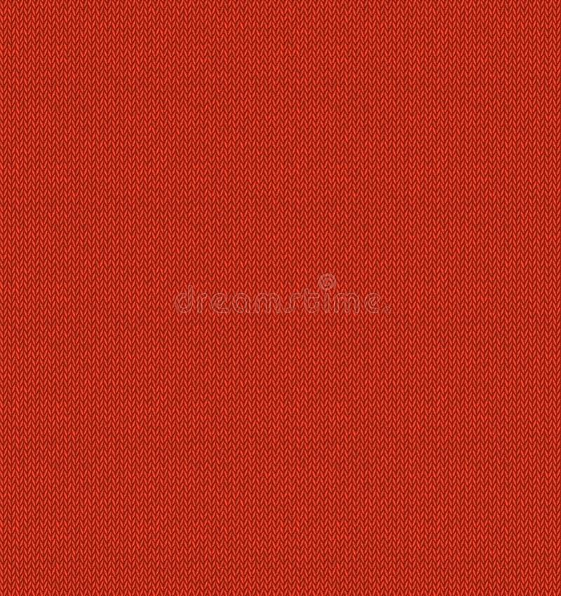 Nahtloser Hintergrund der roten Maschenware-Beschaffenheit Realistisches Knitvektormuster Winterstrickjacken-Weihnachtsillustrati lizenzfreie abbildung