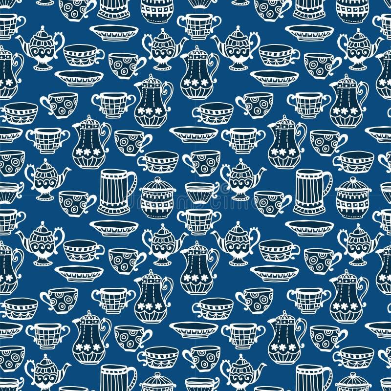 Nahtloser Hintergrund Der Teeschale Stockfoto