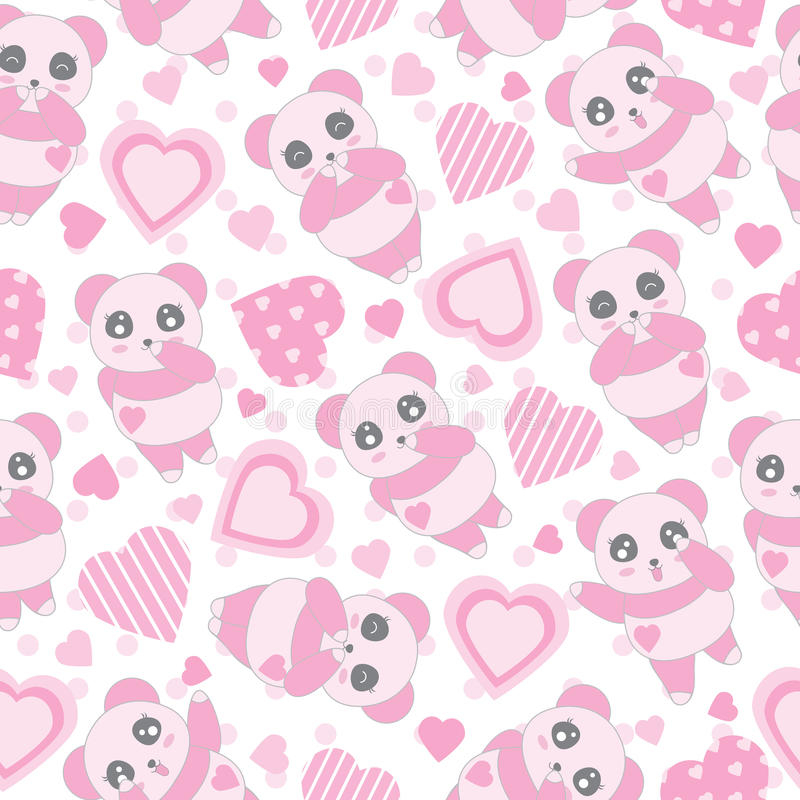 Nahtloser Hintergrund der Valentinsgruß ` s Tagesillustration mit nettem Babyrosapanda und Liebe formen auf Tupfenhintergrund vektor abbildung