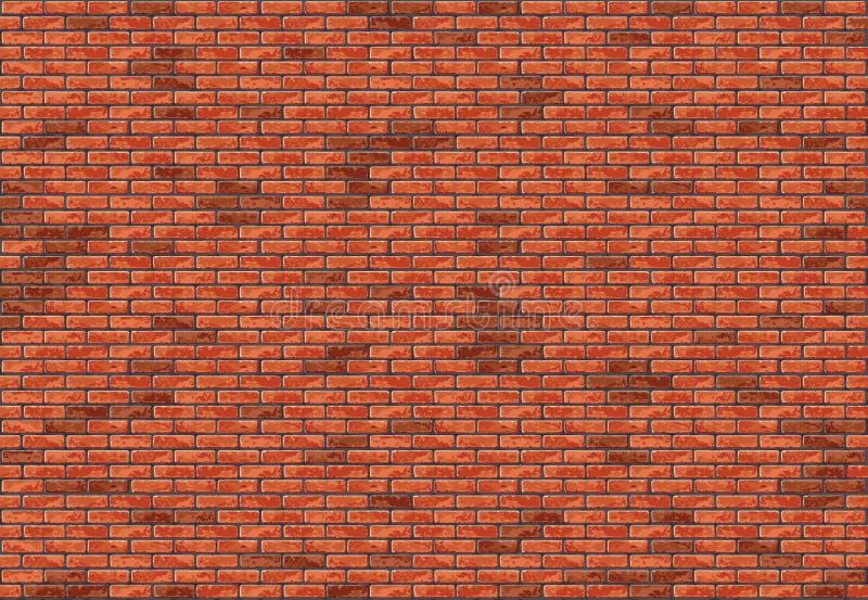 Nahtloser Hintergrund der Wand des roten Backsteins lizenzfreie abbildung