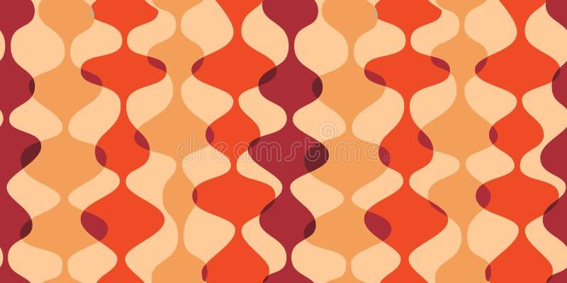 Nahtloser Hintergrund der Weinlese, Retro- Muster Chaotische mehrfarbige Wellen, Girlanden fünfziger Jahre moderne Art lizenzfreie abbildung
