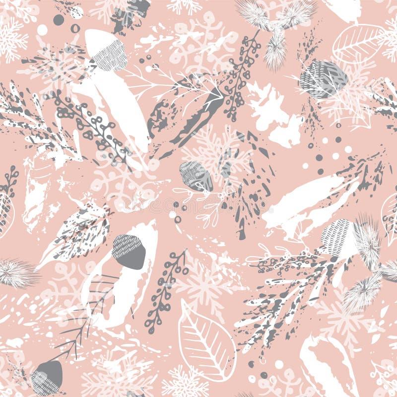 Nahtloser Hintergrund des abstrakten Winterlaubs Painterly Blumenmusterentwurf Für Weihnachtspapier und mehr Vektor lizenzfreie abbildung
