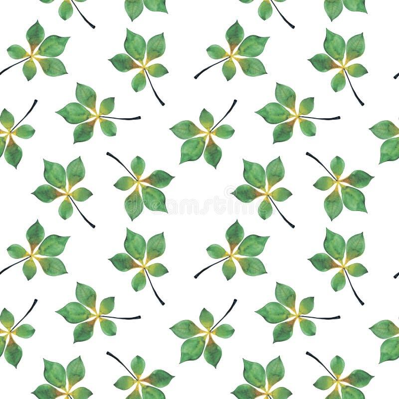 Nahtloser Hintergrund des Aquarells von den Blättern stock abbildung