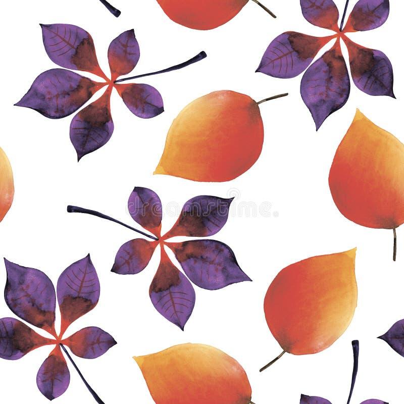Nahtloser Hintergrund des Aquarells von den Herbstblättern stock abbildung