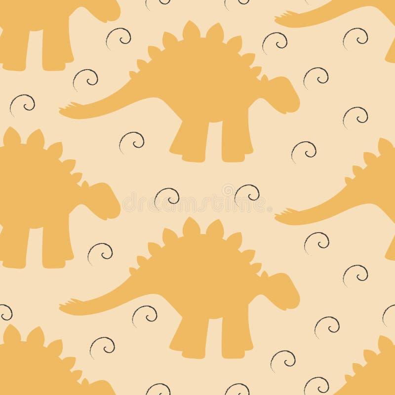 Nahtloser Hintergrund des Babys mit Dinosaurier silhouettiert und wirbelt stock abbildung