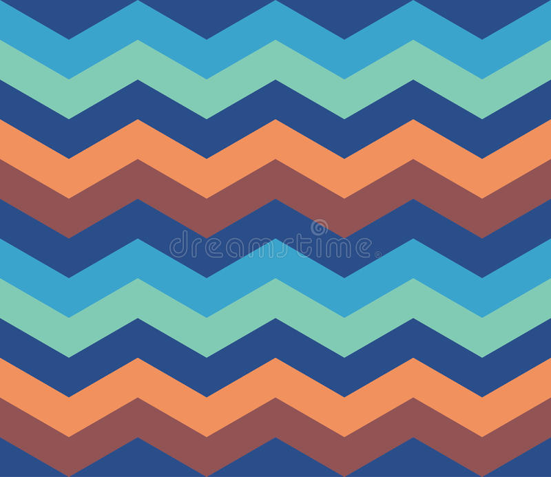 Nahtloser Hintergrund des blauen orange Zickzack-Retro- Musters lizenzfreies stockfoto