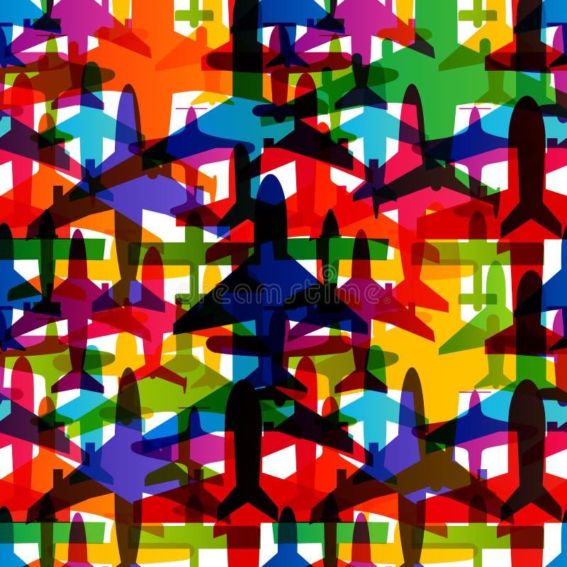 Nahtloser Hintergrund des Flugzeuges Bunte Musterschablone des Flugzeugtransportes Wiederholbare Beschaffenheit des Luftfahrtvekt vektor abbildung
