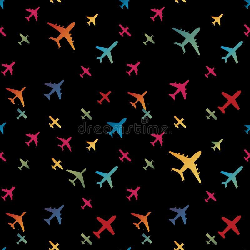 Nahtloser Hintergrund des Flugzeuges Bunte Musterschablone des Flugzeugtransportes Wiederholbare Beschaffenheit des Luftfahrtvekt stock abbildung