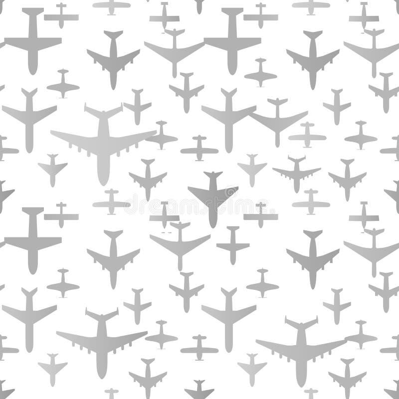 Nahtloser Hintergrund des Flugzeuges Flugzeugtransport-Musterschablone Wiederholbare Beschaffenheit des Luftfahrtvektors stock abbildung