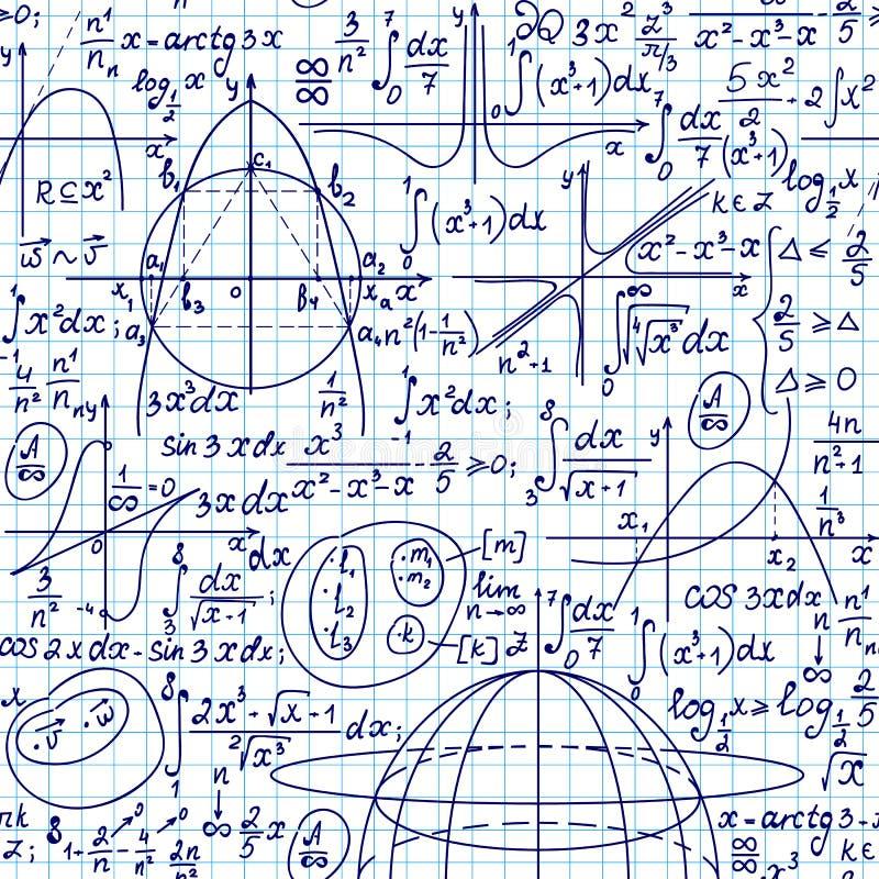Nahtloser Hintergrund des Mathevektors mit den Formeln, Plänen und Gleichungen handgeschrieben auf einem weißen Gitterschreibheft lizenzfreie abbildung