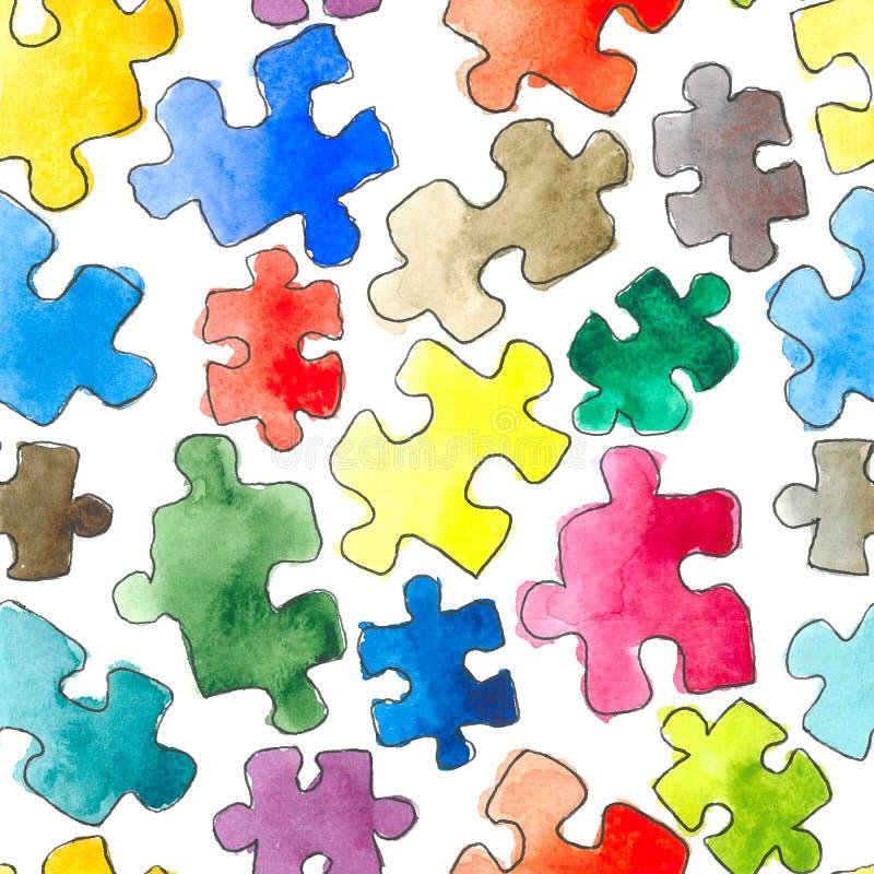 Nahtloser Hintergrund des Puzzlespielmusters Stücke des Puzzlespiels watercolor lizenzfreie abbildung