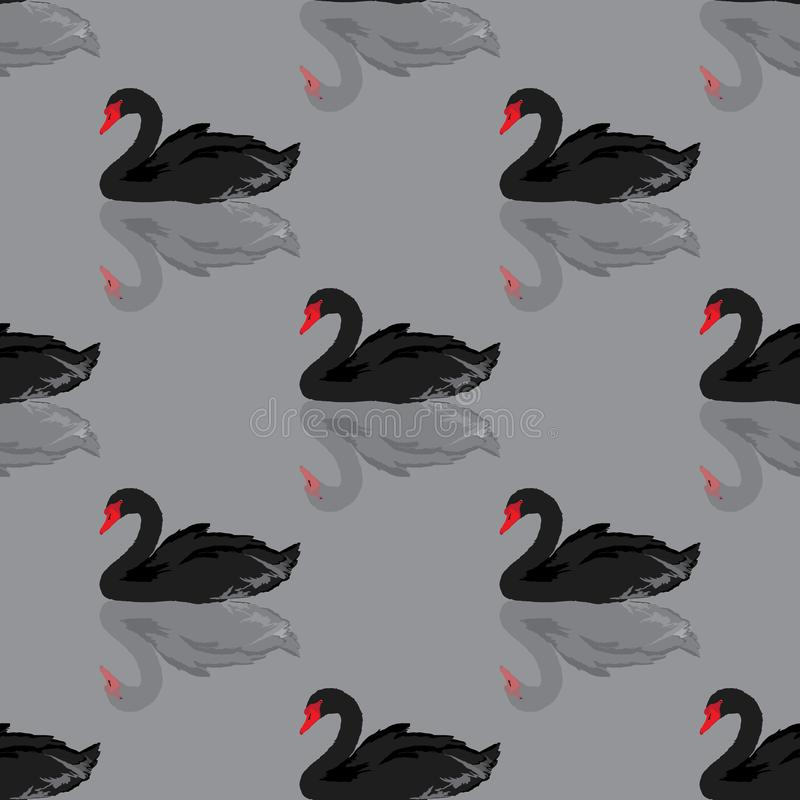 Nahtloser Hintergrund des schwarzen Schwans lizenzfreie abbildung