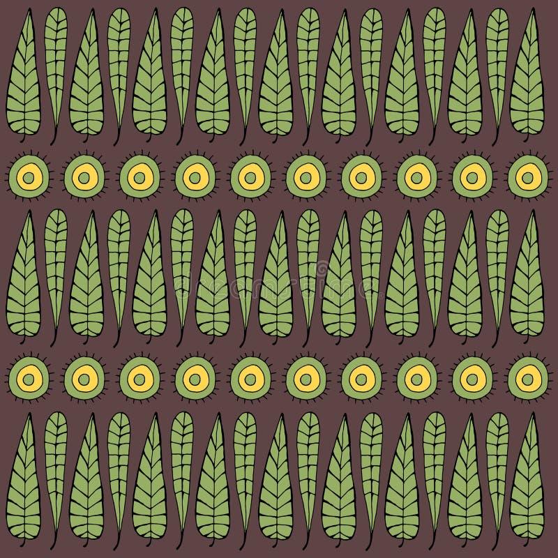 Nahtloser Hintergrund des Vektors mit Blättern und Kreisen vektor abbildung