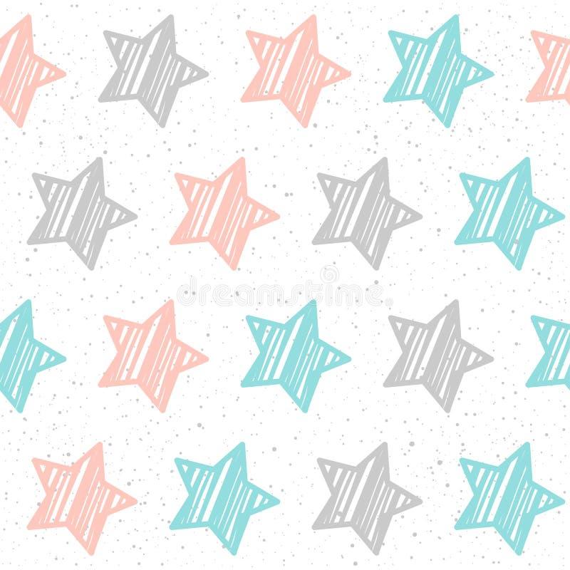 Nahtloser Hintergrund des weich Pastellsternes Grauer, rosa und blauer Stern stock abbildung