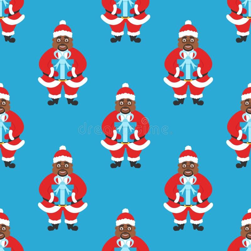 Nahtloser Hintergrund, Fahne neues Jahr oder Weihnachten Afrika-Amerikaner Santa Claus mit den Gläsern und Bart, ein Geschenk hal vektor abbildung