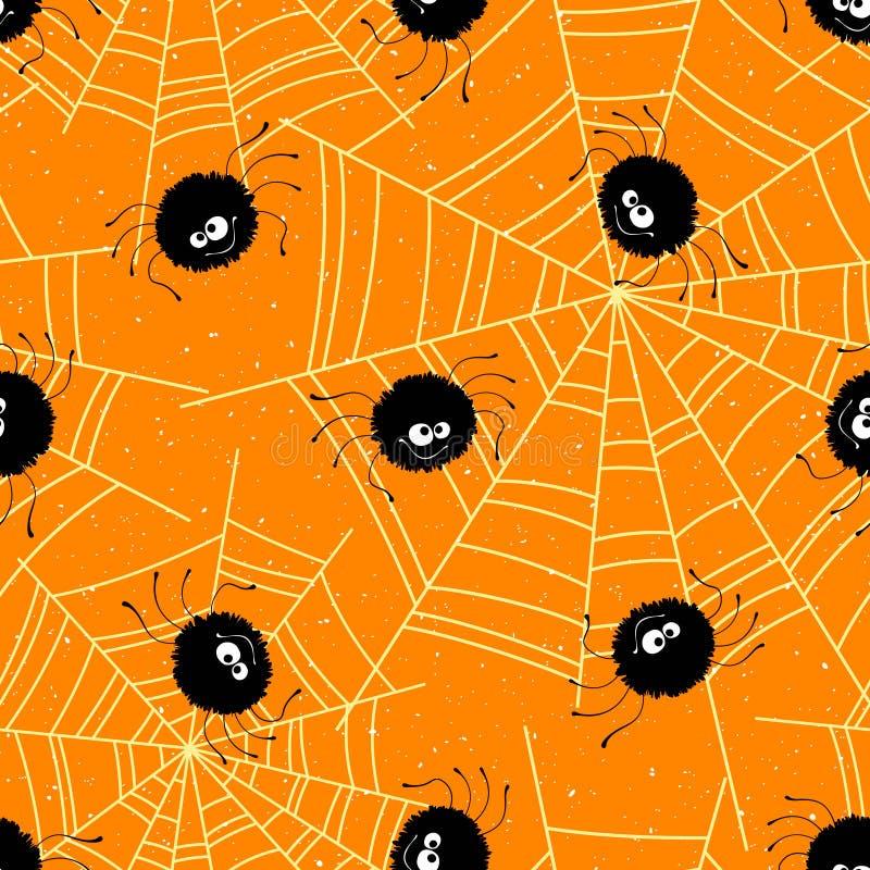 Nahtloser Hintergrund Halloweens mit Spinnen und Netz Auch im corel abgehobenen Betrag lizenzfreie abbildung