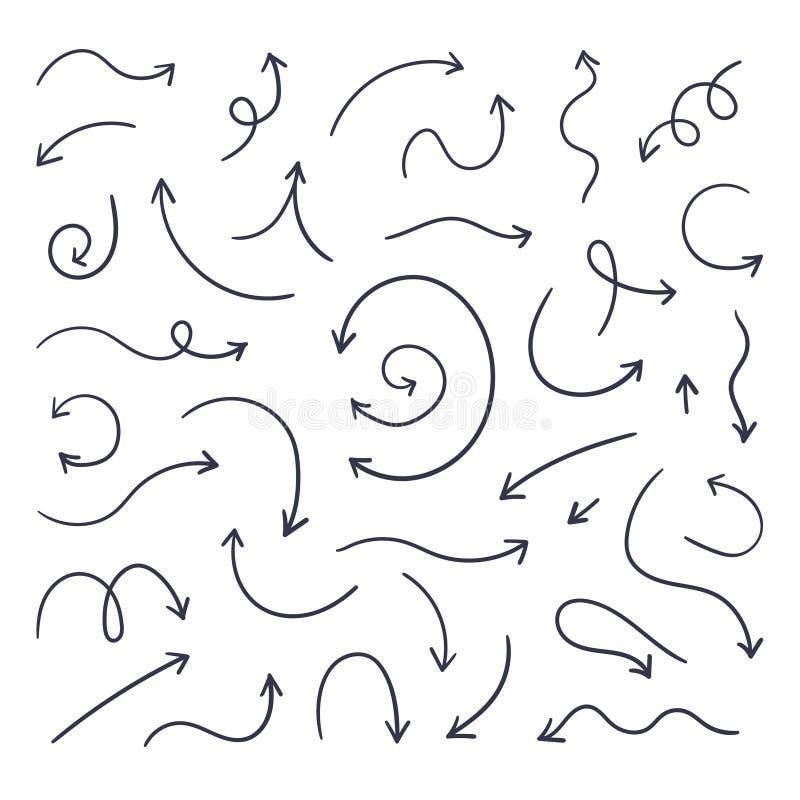 Nahtloser Hintergrund Handgezogene Linie Zeiger, Bleistiftskizzenelemente, runde gelockte gewellte Richtungspfeile Linearer Pfeil stock abbildung