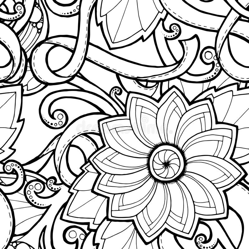 Nahtloser Hintergrund im Vektor mit Gekritzeln, Blumen und Paisley vektor abbildung