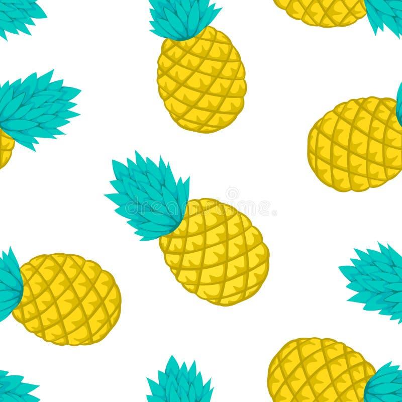 Nahtloser Hintergrund mit Ananas auf Weiß entwerfen Sie für Feiertagsgrußkarte und Einladung von Saisonsommerferien, Sommer b lizenzfreie abbildung