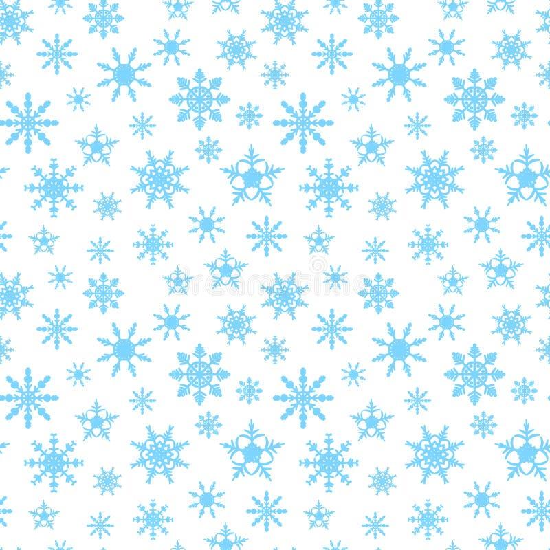 Nahtloser Hintergrund mit blauen Schneeflocken stockbild