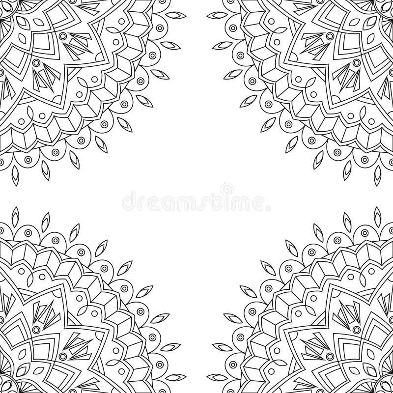 Nahtloser Hintergrund mit Blumenmandalen stock abbildung