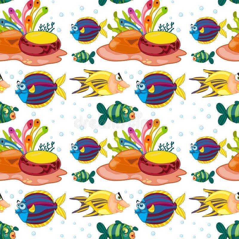 Nahtloser Hintergrund mit den Fischen, die unter Wasser schwimmen vektor abbildung