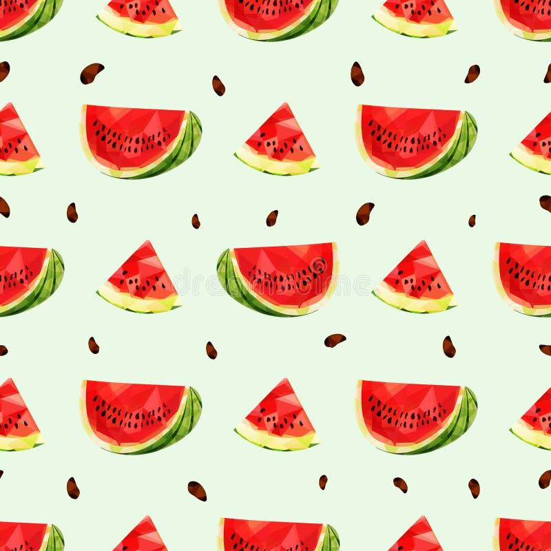 Nahtloser Hintergrund mit einem Stück der saftigen Wassermelone in der niedrigen Polyart vektor abbildung