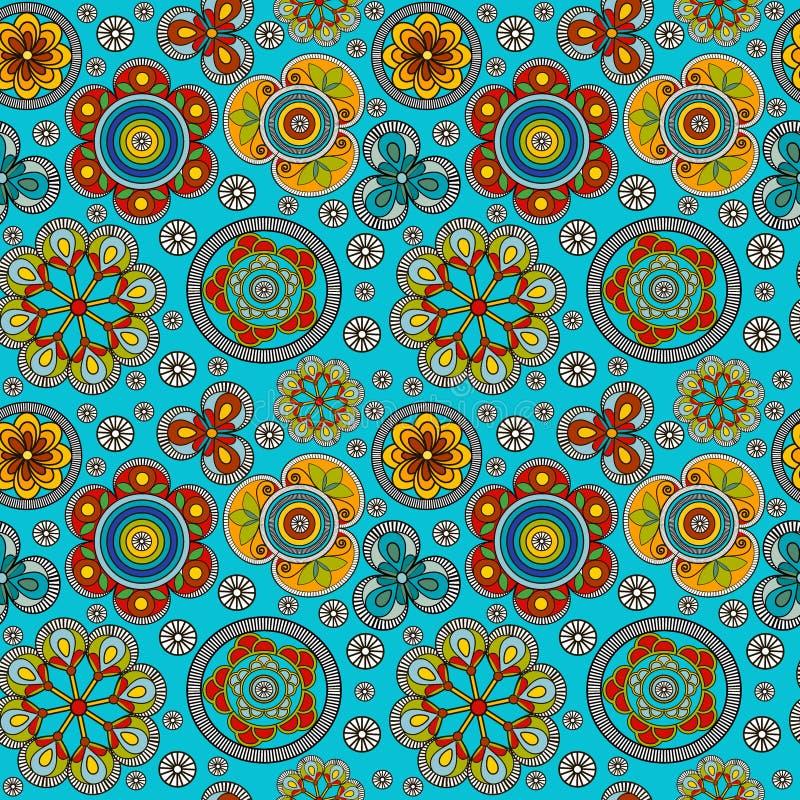 Nahtloser Hintergrund mit empfindlichen farbigen Blumen vektor abbildung