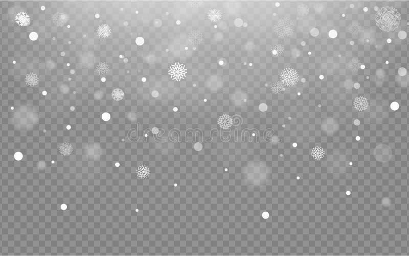 Nahtloser Hintergrund mit fallendem Schnee oder Schneeflocken auf transparentem Hintergrund, Vektorschnee lizenzfreie abbildung