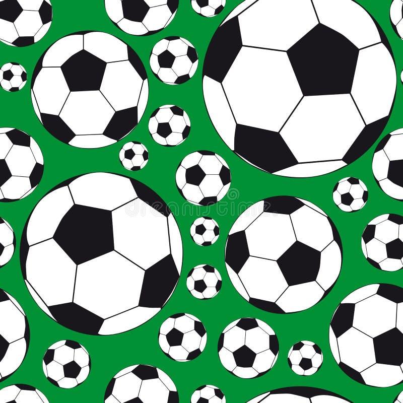 Nahtloser Hintergrund mit Fußballkugeln. stock abbildung