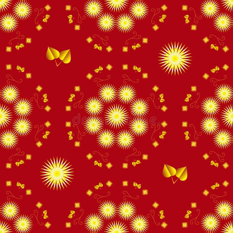 Nahtloser Hintergrund mit gelben Astern und Goldblättern auf rotem Hintergrund vektor abbildung