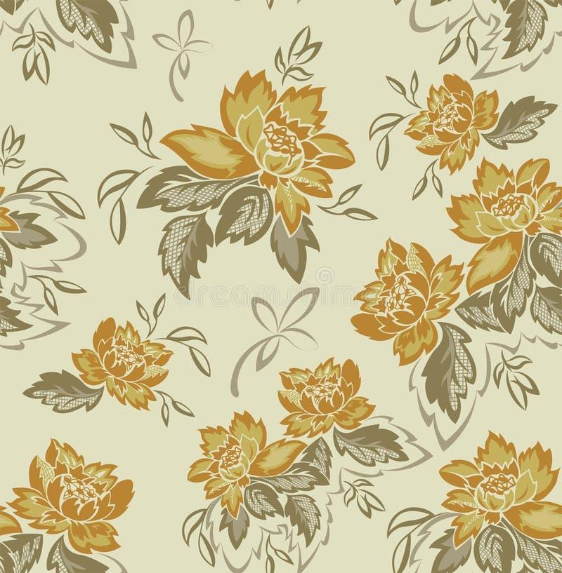 Nahtloser Hintergrund mit gelben Blumen stockfotografie