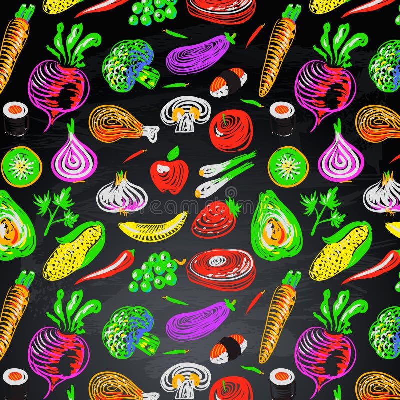 Nahtloser Hintergrund mit Gemüse und Frucht stock abbildung