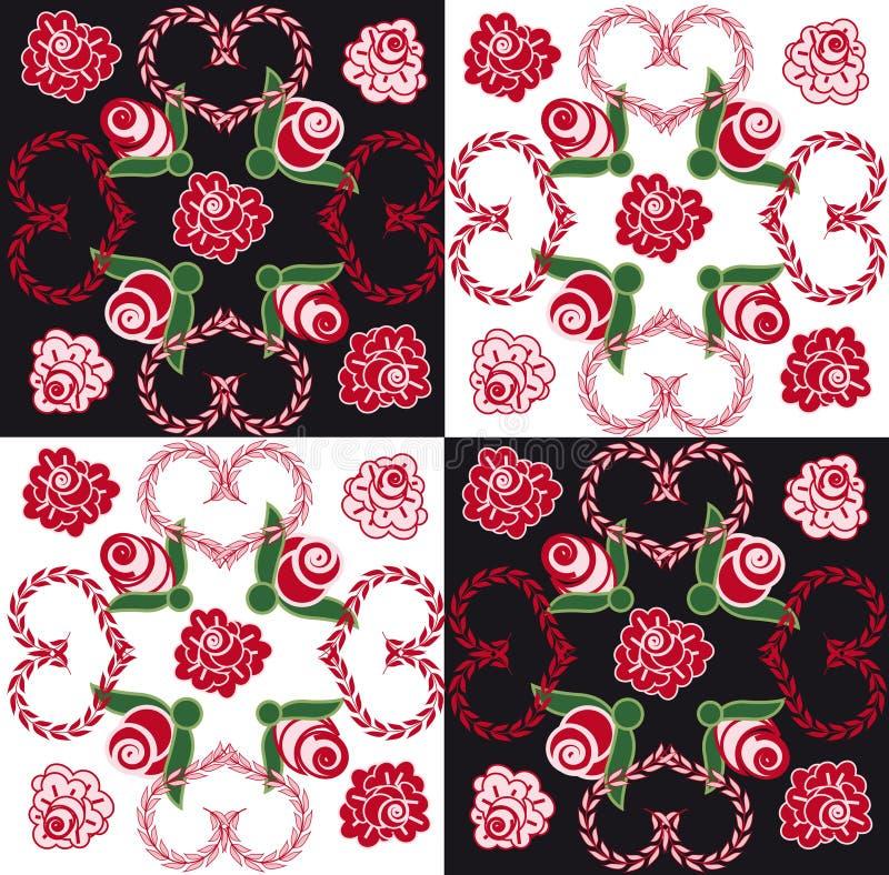 Nahtloser Hintergrund mit Inneren und Rosen stock abbildung