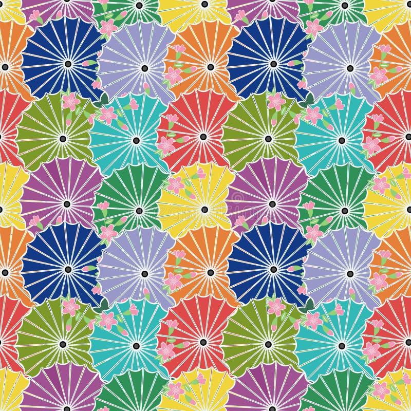 Nahtloser Hintergrund mit japanischen Regenschirmen stock abbildung