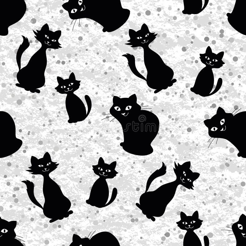 Nahtloser Hintergrund mit Katzenschattenbildern stock abbildung