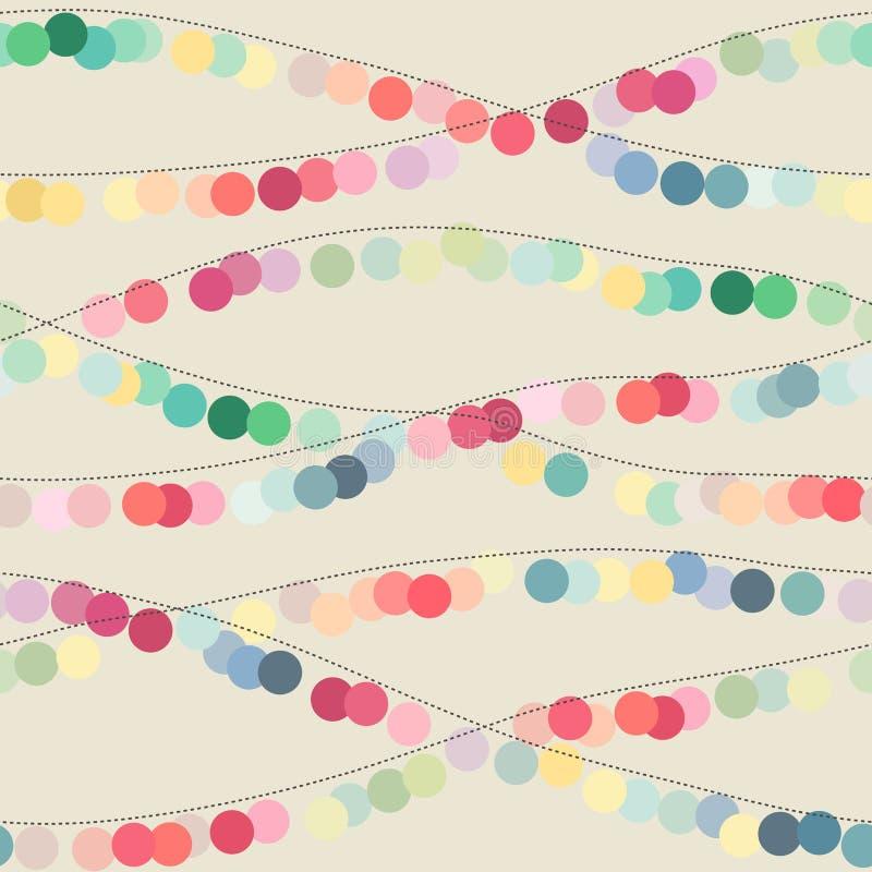 Nahtloser Hintergrund mit mehrfarbigen Kreisgirlanden lizenzfreie abbildung