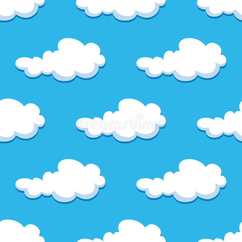 Nahtloser Hintergrund mit netten Karikaturwolken lizenzfreie abbildung