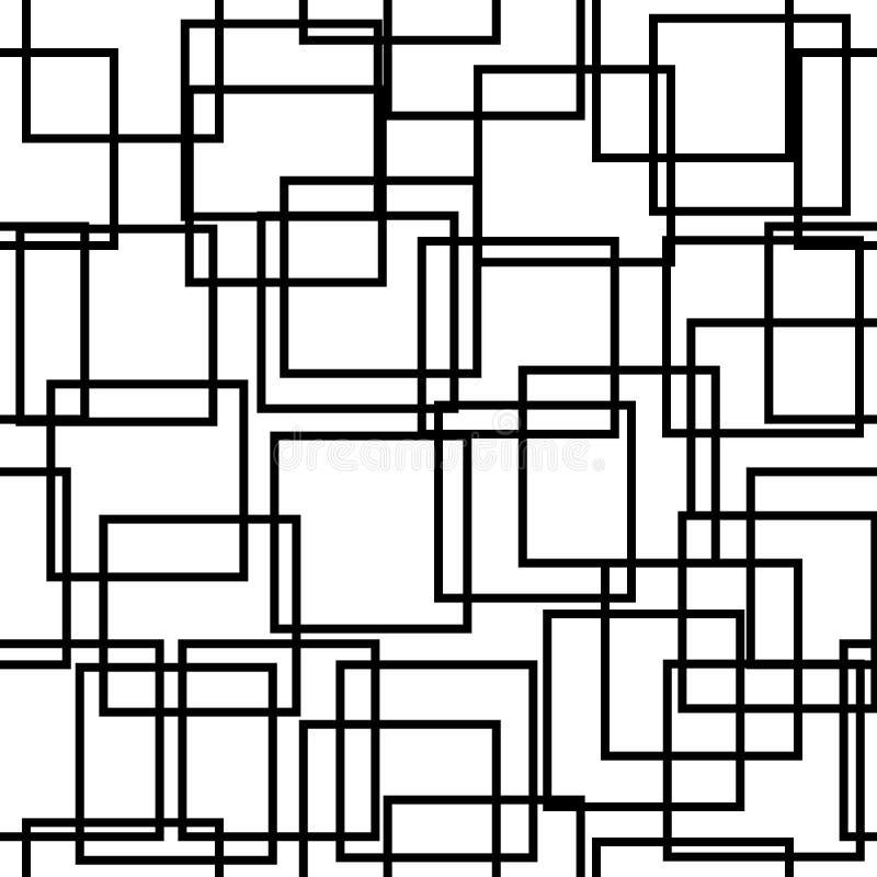 Nahtloser Hintergrund mit Quadraten Moderne minimalistic Art Ein Farbschwarzes auf Weiß Geometrisches Muster lizenzfreie abbildung