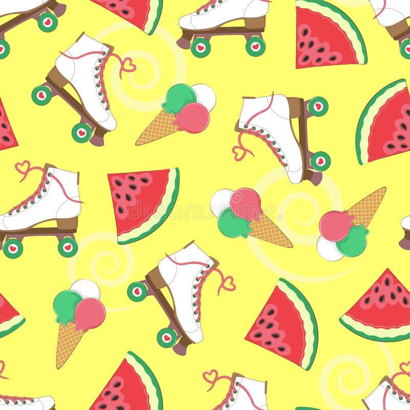 Nahtloser Hintergrund mit Rollen, Wassermelone und Eiscreme Ein einfaches Muster Vektor Junge Erwachsene feiertage vektor abbildung