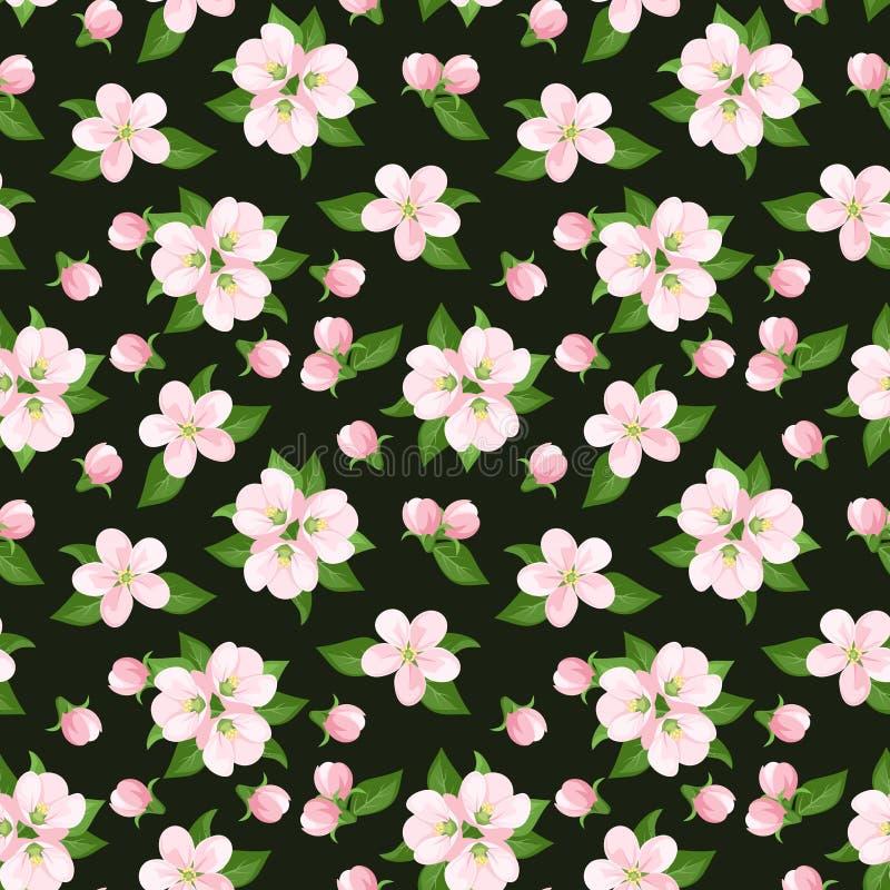 Nahtloser Hintergrund mit rosa Apfelblumen. Vecto vektor abbildung